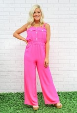 Peace Love Cake Hot Pink Stacey Jumpsuit