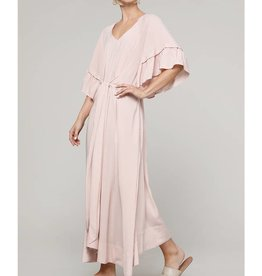 Amente Flare Sleeve Tie Long Dress