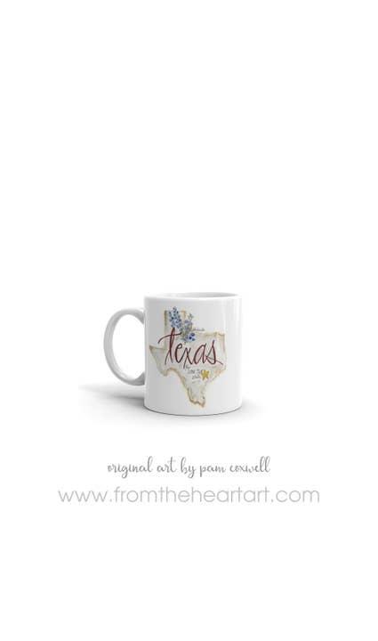 From The Heart Art Texas Ceramic Mug