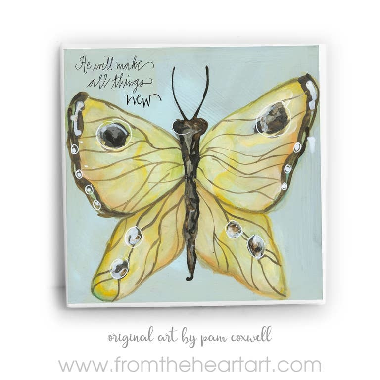 From The Heart Art Yellow Butterfly Ceramic Tile