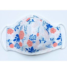 Woven Pear Coral Pink Floral Face Mask