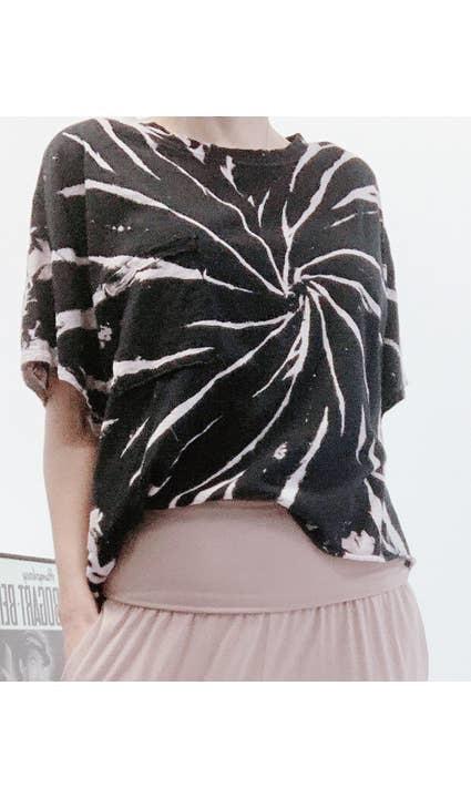 Fabina Black Cotton Tie Dyed Crop