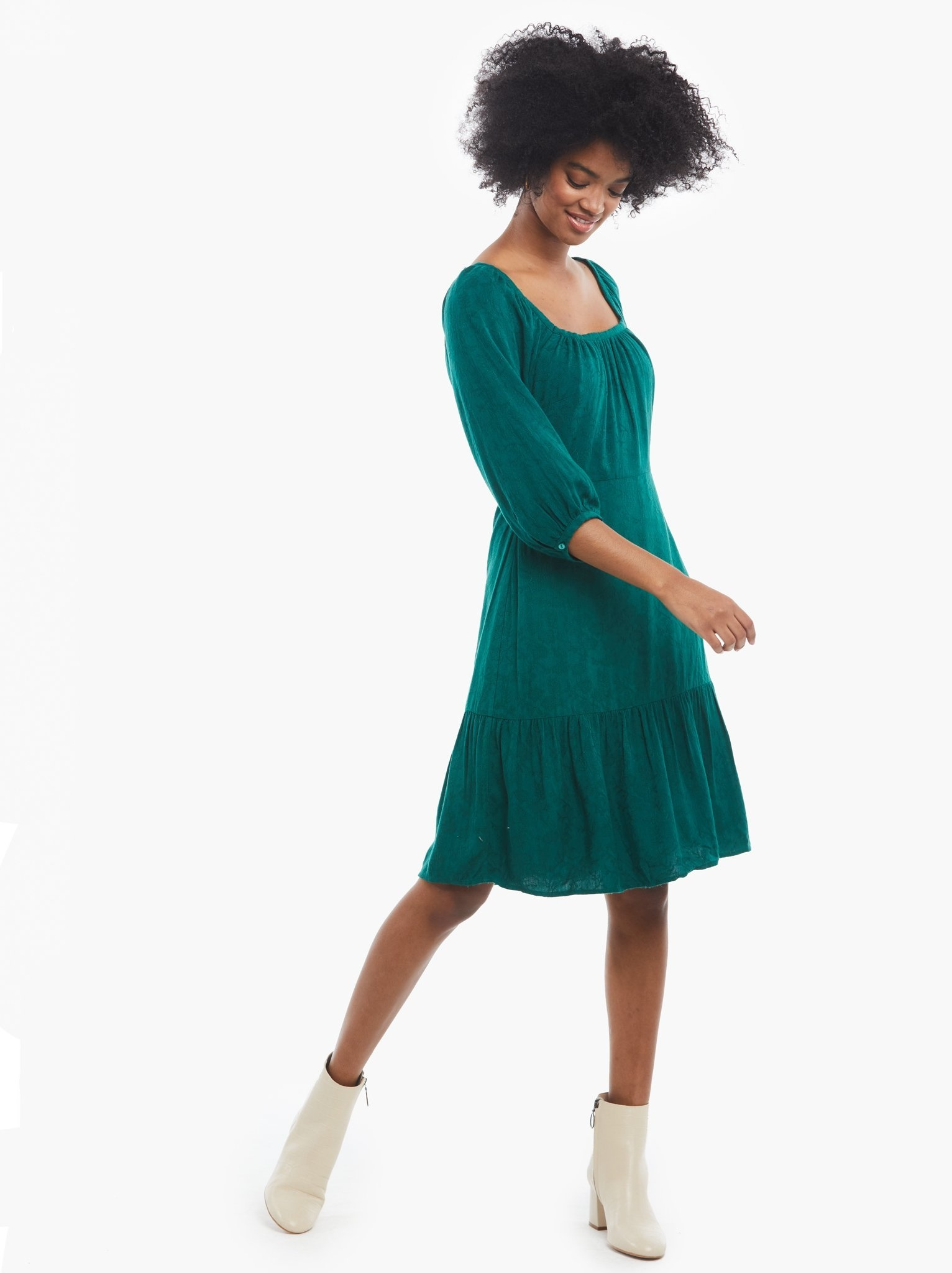 Able Betty Evergreen Puff Sleeve Dress