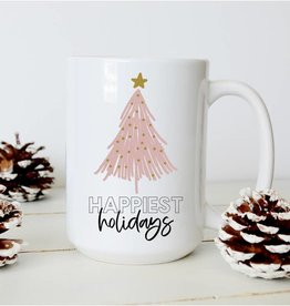 Sweet Mint Handmade Goods Happiest Holidays with Pink Christmas Tree