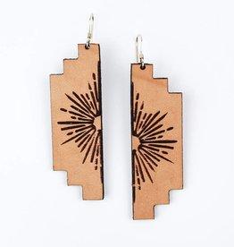 Freshwater Design Co. Sun Burst Leather Earrings