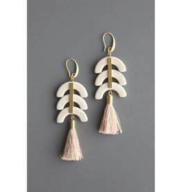 David Aubrey Jewelry Half Moon 18K Gold Hook Earrings