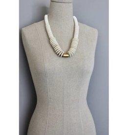 """David Aubrey Jewelry 22"""" Wood Disc Necklace"""