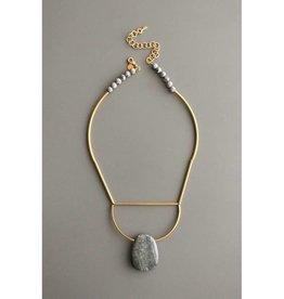 David Aubrey Jewelry Jasper, Brass, & Agate Necklace