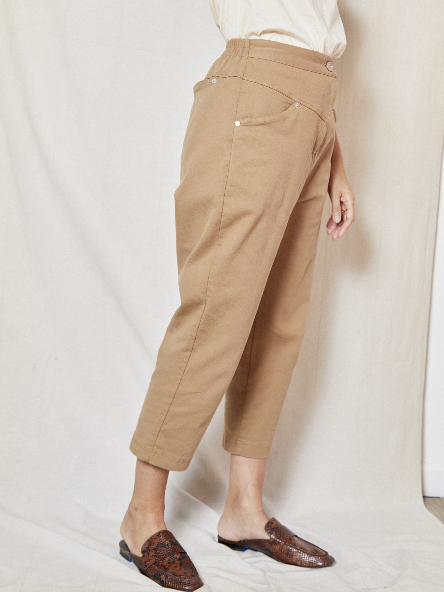 d.r concept Paneled Stretch Beige Pant