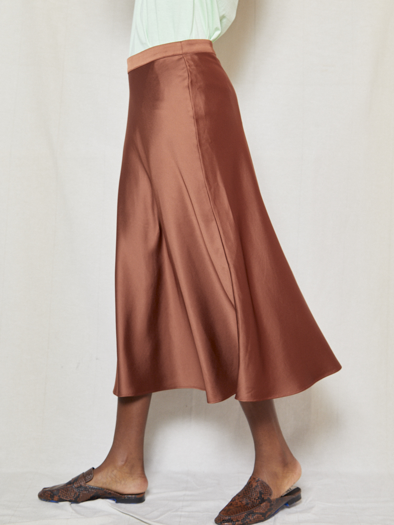 Vegas Silky Brown Slip Skirt