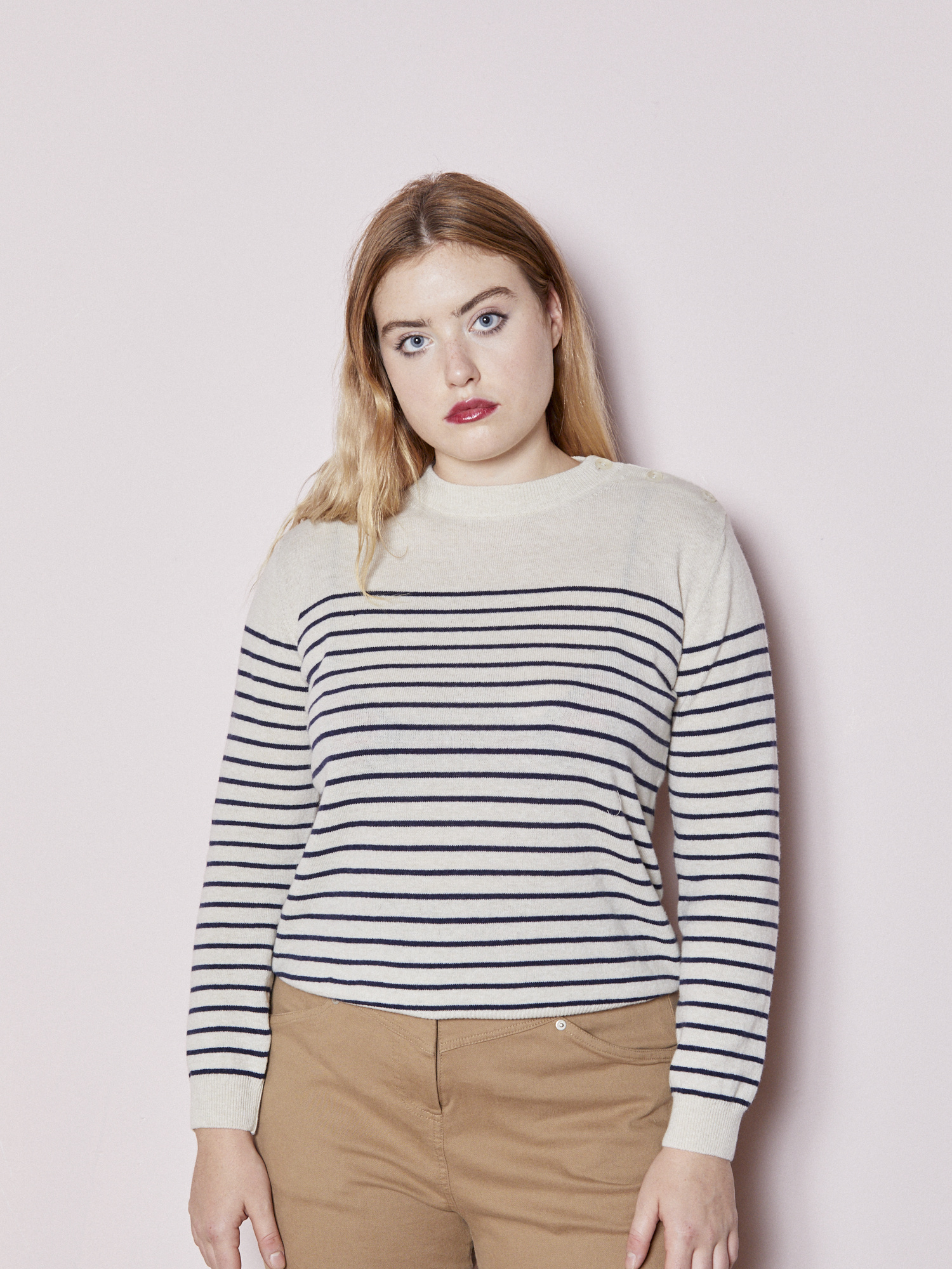 Vegas Striped Buttoned Knit