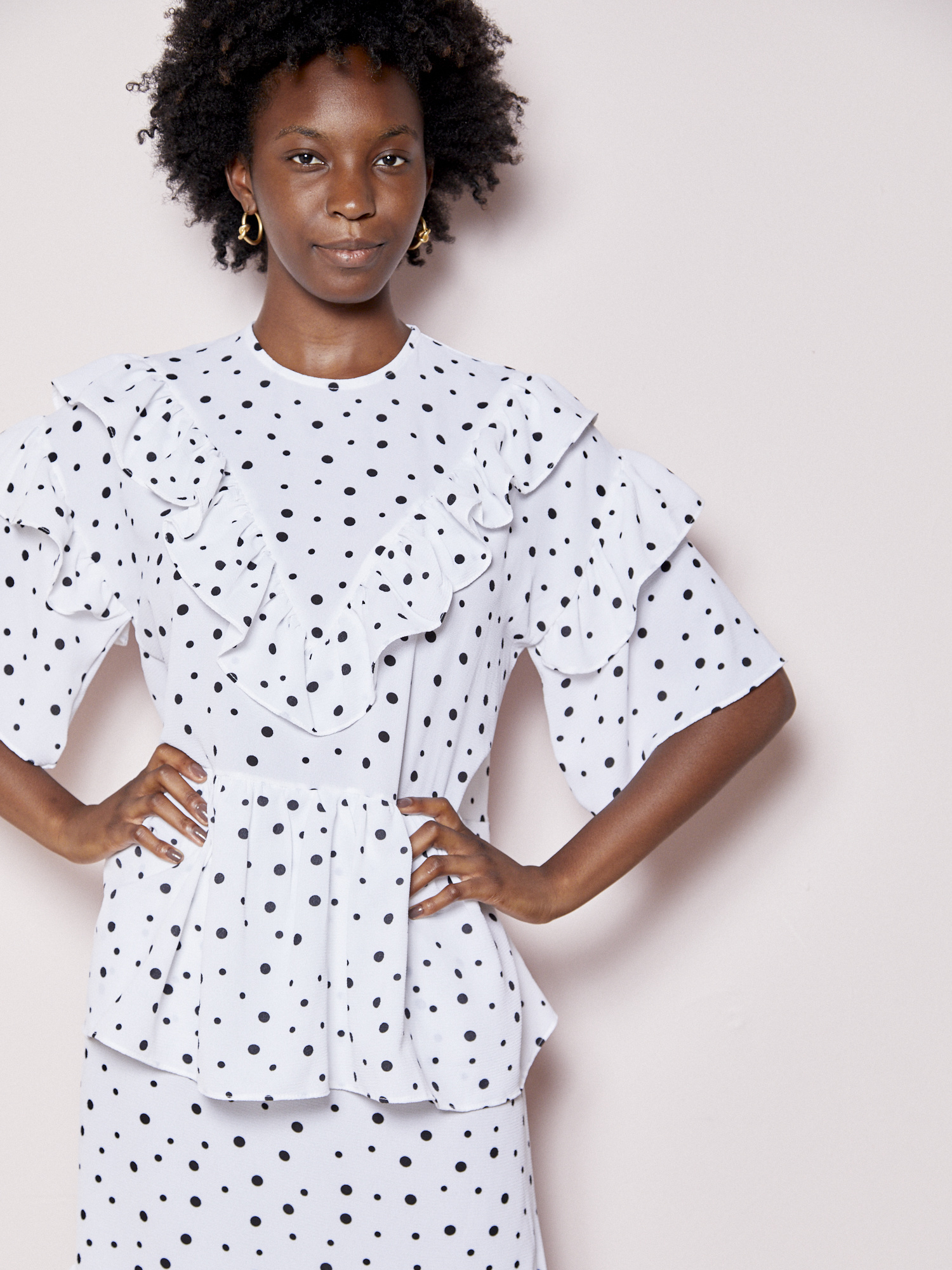 Love Yourself Effortless Ruffled Polka Dot Dress