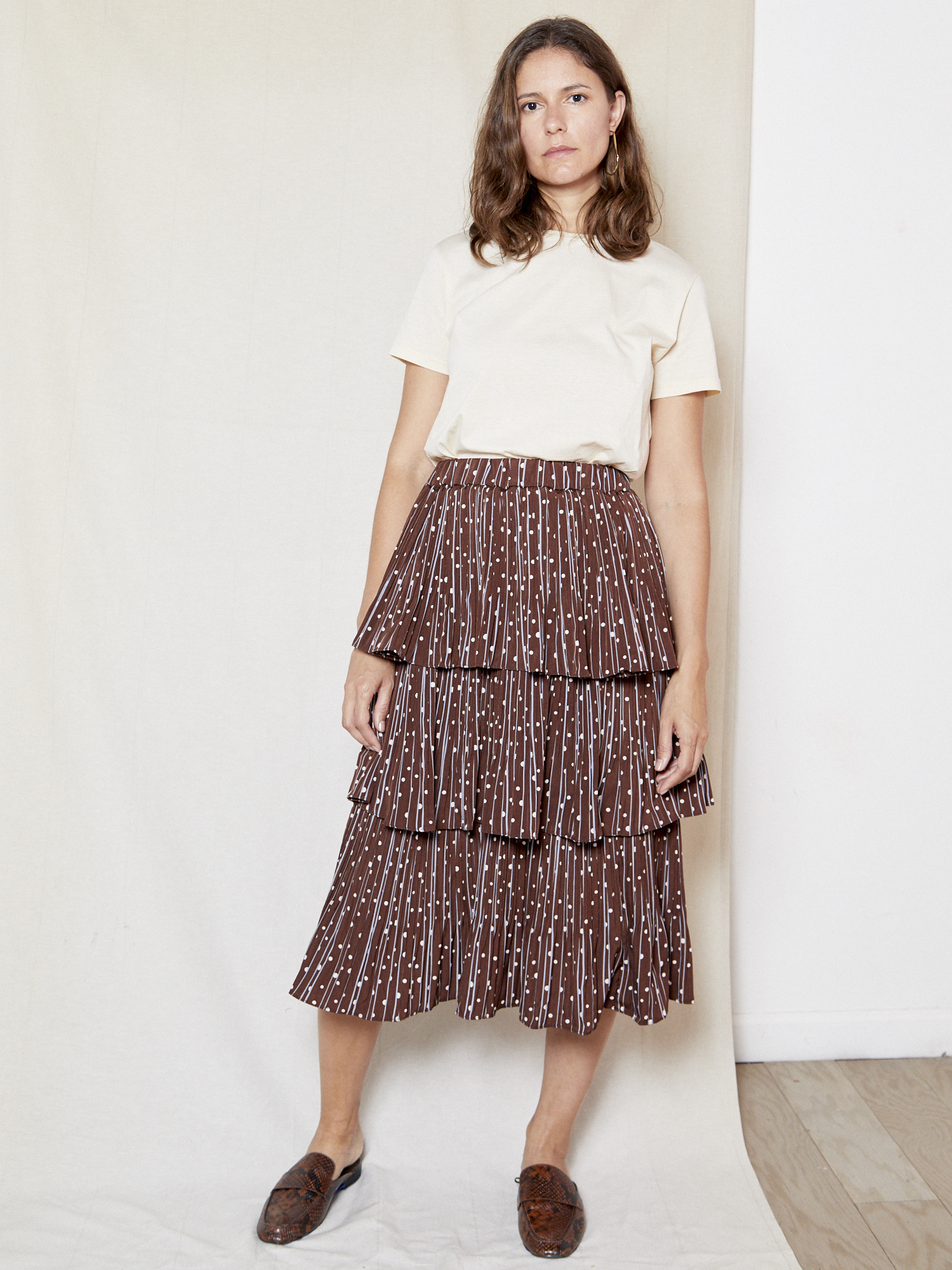 Erica Anna Brown Printed Skirt
