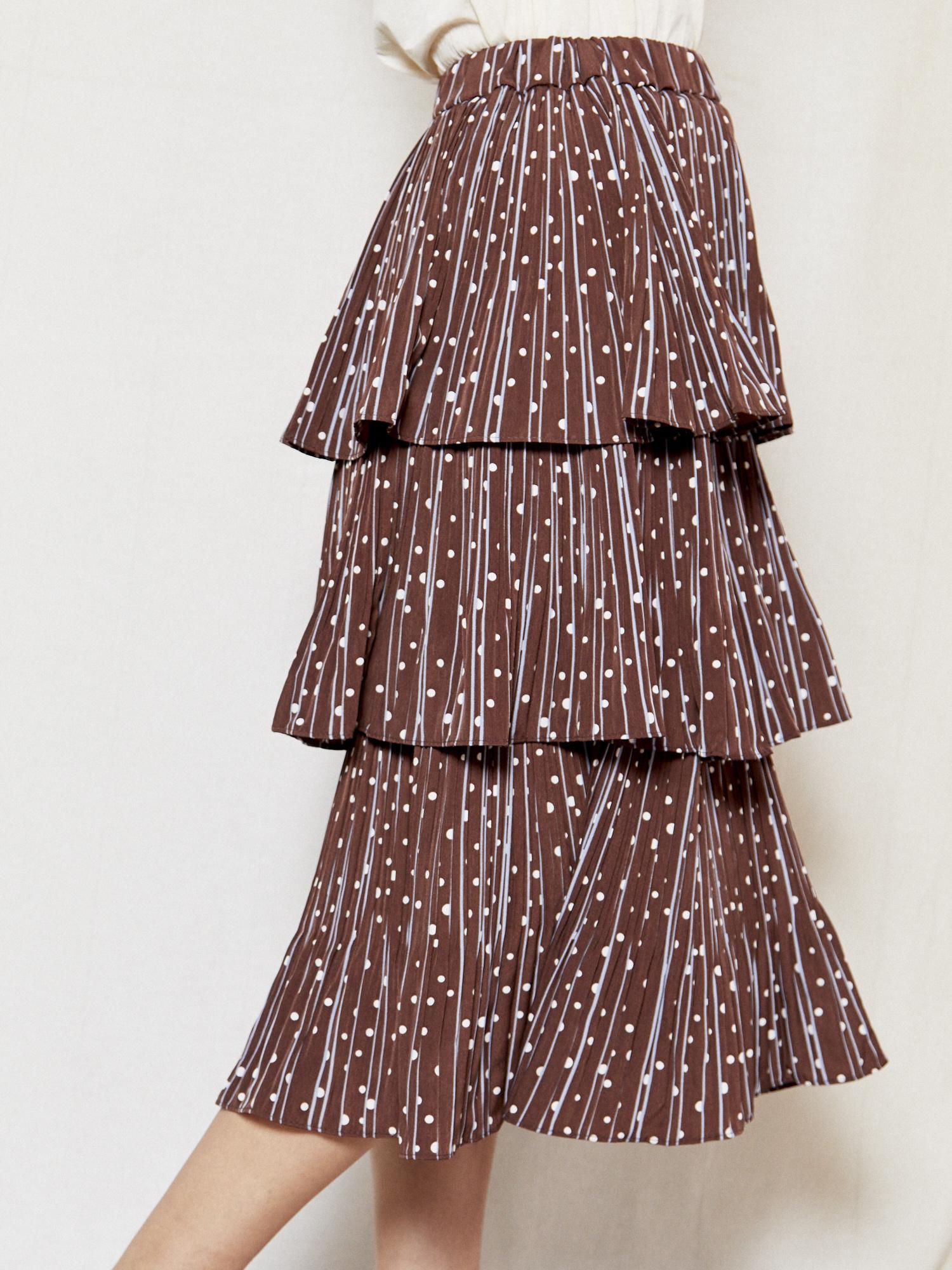 Erica Anna Brown Printed Skirt