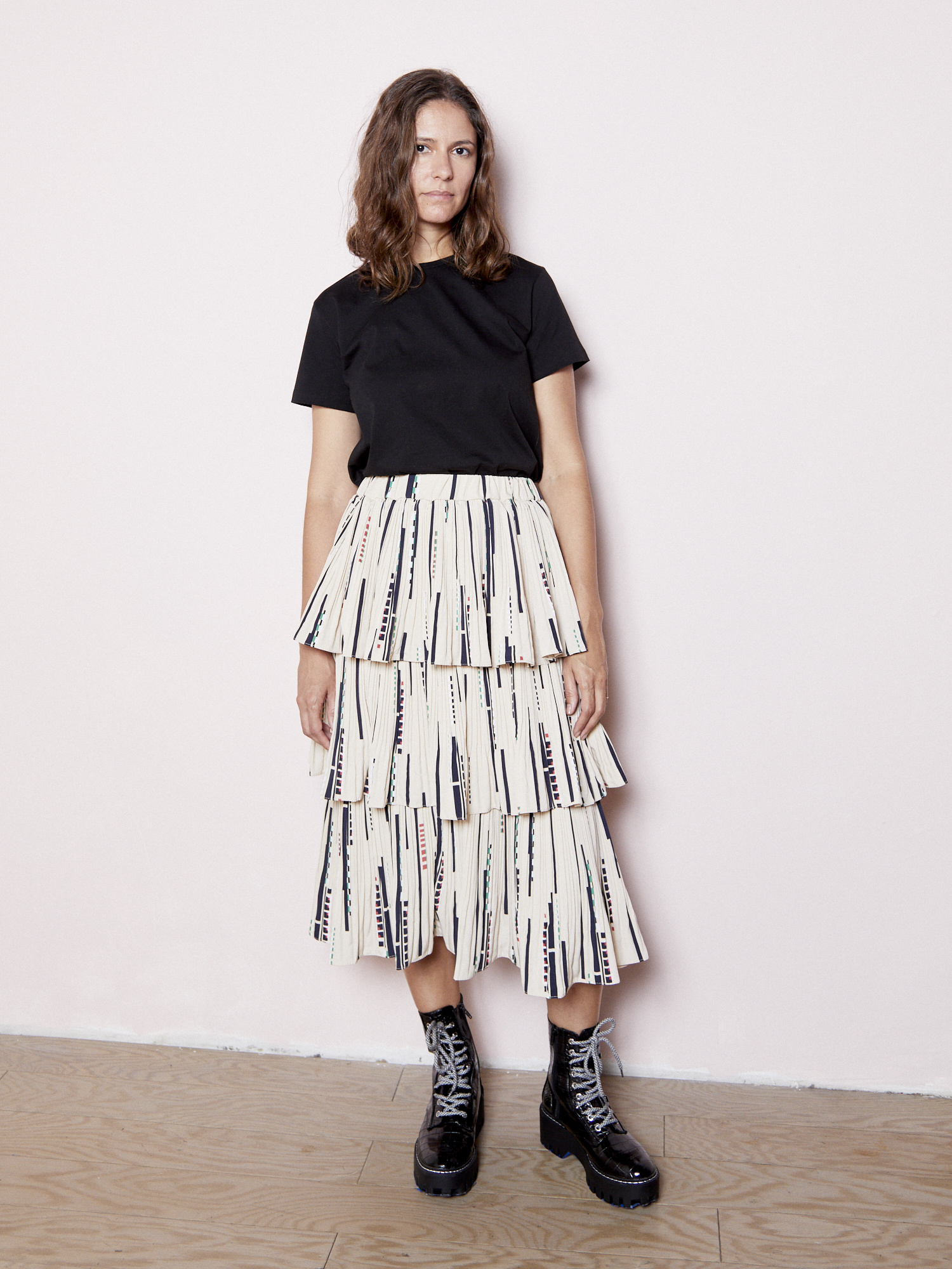 Erica Anna Ruffled Printed Skirt