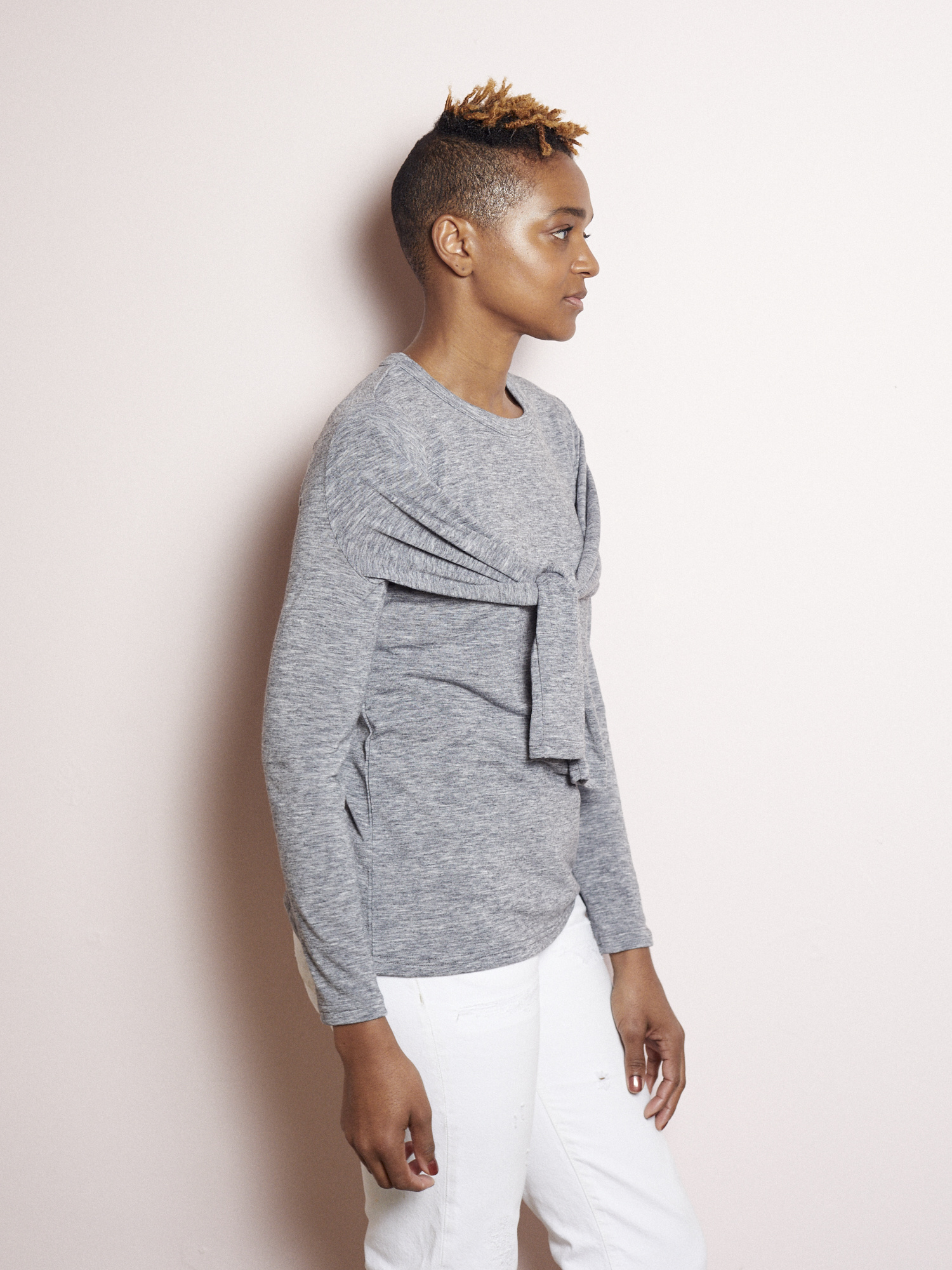 More More More Grey Double Sleeved Knit