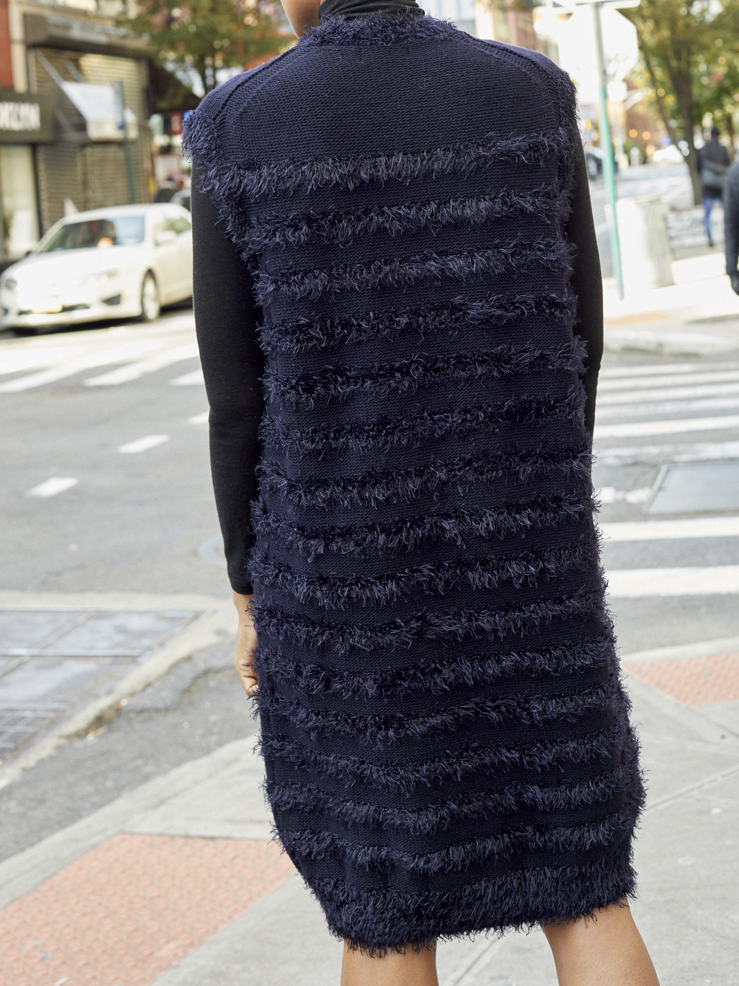 Vegas Sleeveless Navy Textured Dress