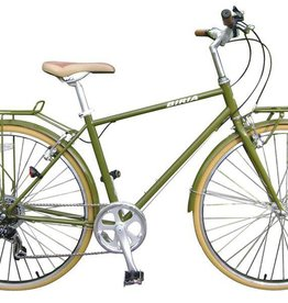 Biria Biria Citibike Bicycle Men's 8 Speed Olive Green 55cm