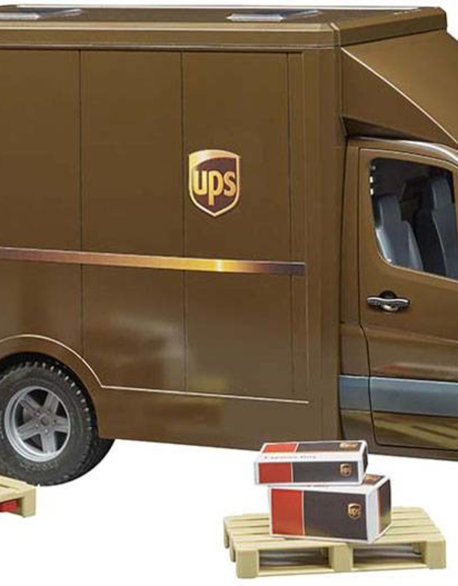 UPS Truck with Driver and Accessories
