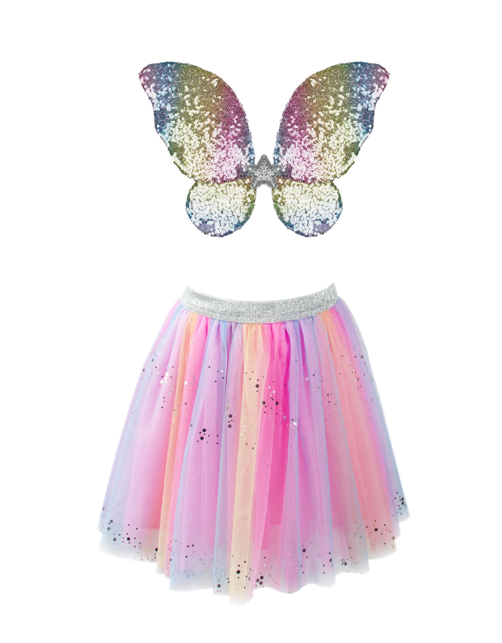 Rainbow Sequin Skirt/Wings & Wand Sz 4-6