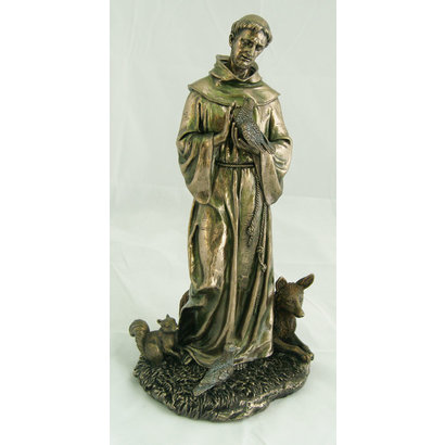 """St. Francis with Animals, Cold-Cast Bronze. Lightly Hand-Painted, 12"""""""