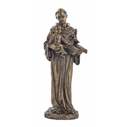 "St. Anthony w/Child, Cold-Cast Bronze 10 1/2"""