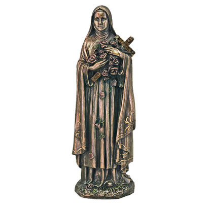 """St. Therese Cold-Cast Bronze, Lightly Painted 8"""""""