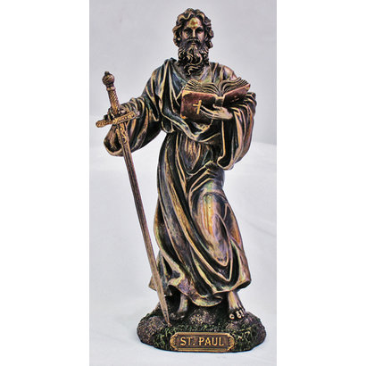 """St. Paul Cold-Cast Bronze Lightly Painted 8"""" Statue"""