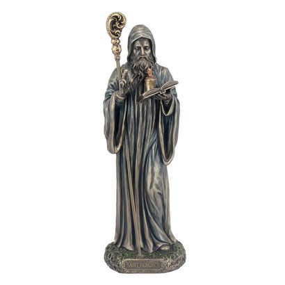 "St. Benedict Cold Cast Bronze, lightly hand painted 8"" Statue"