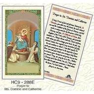 Prayer to Sts. Dominic and Catherine Laminated Prayercard