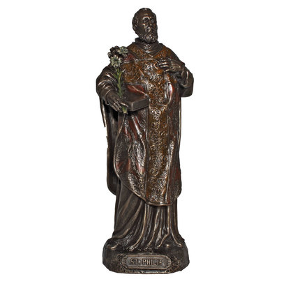 "St. Philip Cold Cast Bronze Veronese Lightly Hand Painted 8"" Statue"
