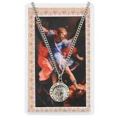 St. Michael the Archangel Pewter Necklace and Laminated Holy Card