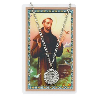 St. Francis of Assisi Pewter Necklace and Holy Card