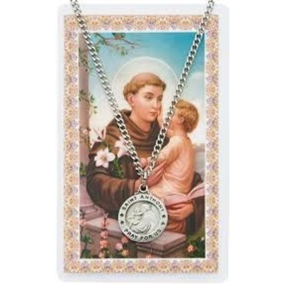 St. Anthony Pewter Necklace and Holy Card