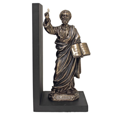 """St. Peter, Bookend, Coldcast Bronze, 9.5"""""""