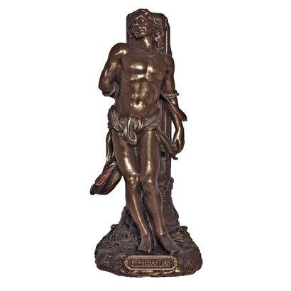 "St. Sebastian Cold-Cast Bronze Lightly Hand Painted 8"" Statue"