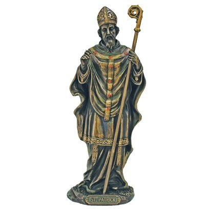 "St. Patrick Cold-Cast Bronze Lightly Hand Painted 8"" Statue"