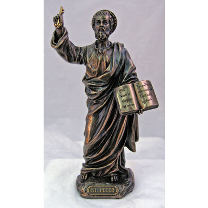 """St. Peter Cold-Cast Bronze Lightly Hand Painted 8"""" Statue"""