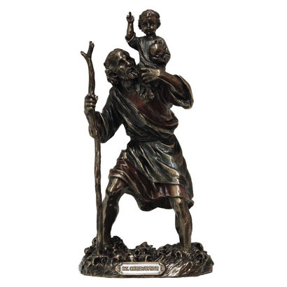 """St. Christopher Cold-Cast Bronze Lightly Hand Painted 8"""" Statue"""