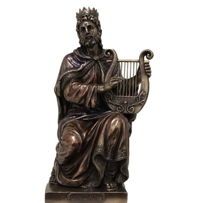 """King David Cold-Cast Bronze Lightly Hand Painted 7"""" Statue"""