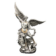 "St. Michael Pewter Style w/Gold Trim 10"" Statue"