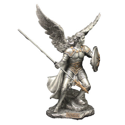 "Archangel Raphael Pewter Style with Gold Trim 9"" Statue"