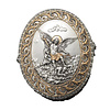 "St. Michael Oval Box Pewter Style with Gold Trim 3.75""x4.5"""