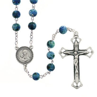 Auto Rosary Blue Speckled 7mm