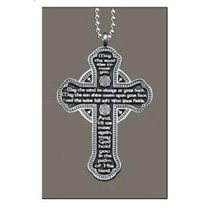 Celtic Cross w/Prayer Rearview Mirror Ornament