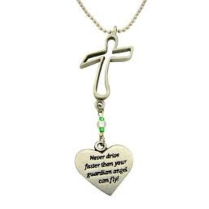 """Cross with Heart """"never fly faster"""" Rearview Mirror Ornament"""