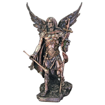 """St. Gabriel, Cold Cast Bronze Lightly Hand Painted 14"""" Statue"""