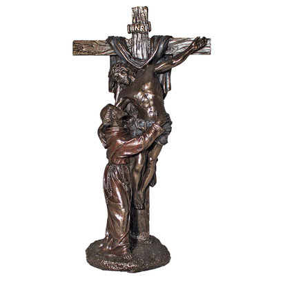 "Christ with St. Francis, Cold-Cast Bronze 11.5"" Statue"