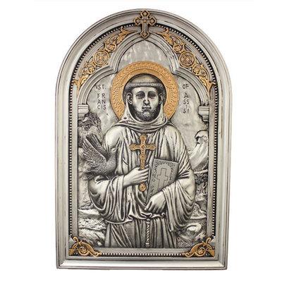 """St. Francis, Cold-Cast Bronze Veronese Plaque 6x9"""""""