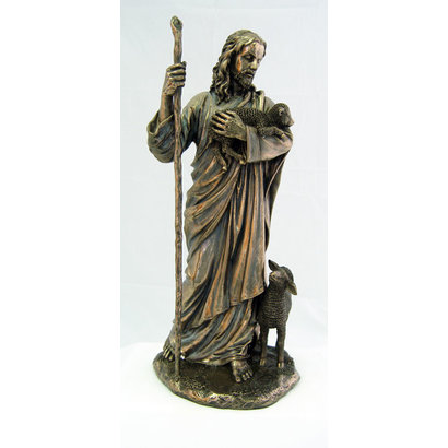 """Good Shepherd, Cold-Cast Bronze Lightly Hand Painted 11.5"""" Statue"""